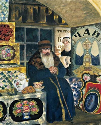 Картина Б. М. Кустодиева «Купец-сундучник» (1918)